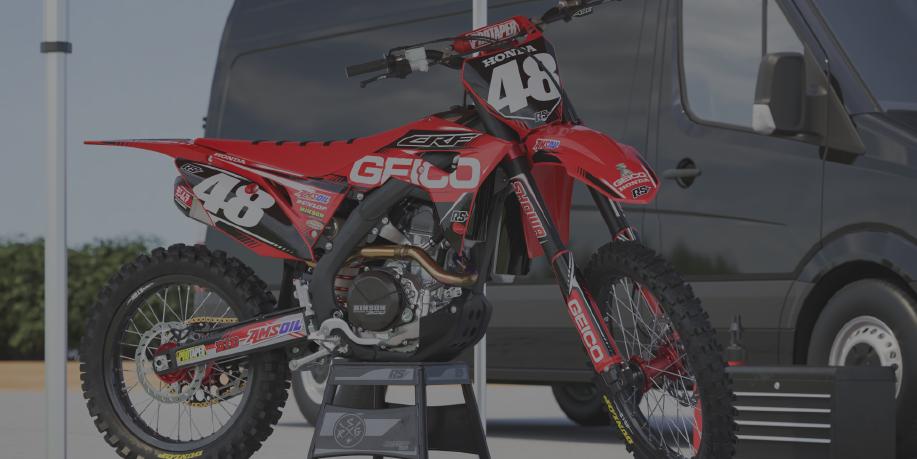Image of a Bandit Graffix Semi Custom Bike Graphic Kit on a Honda bike