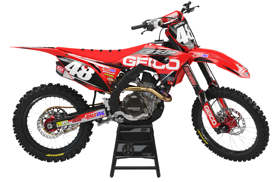 PNG Image of a Bandit Graffix Semi Custom Bike Graphic Kit on a Honda bike