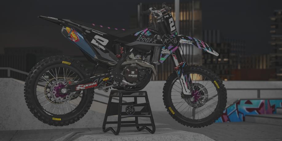 Image of a Bandit Graffix Semi Custom Bike Graphic Kit on a Hasqvarna bike