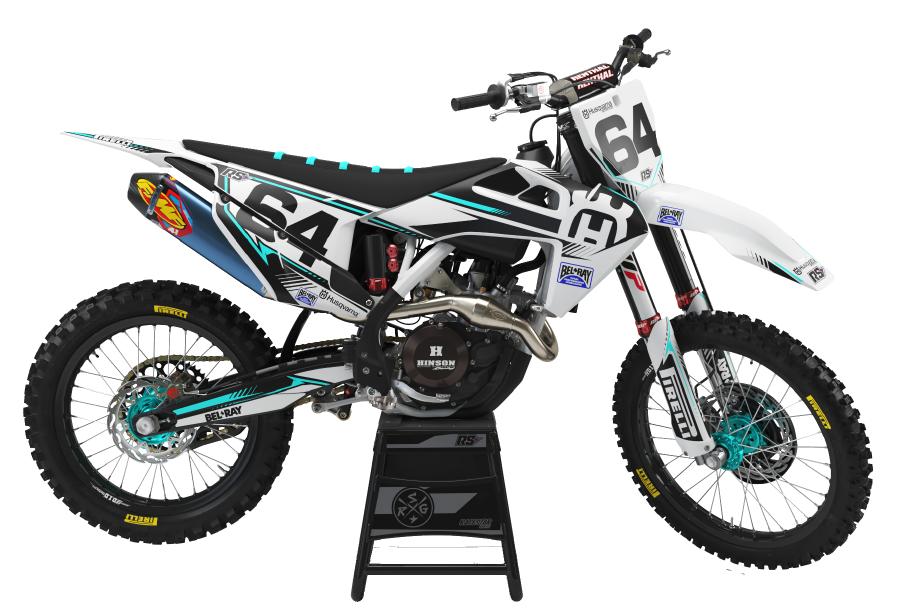 PNG Image of a Bandit Graffix Semi Custom Bike Graphic Kit on a Hasqvarna bike
