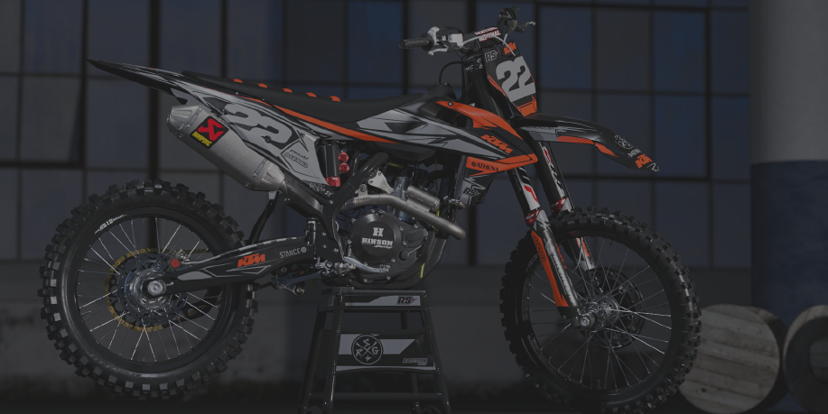 Image of a semi-custom bike graphic kit on a KTM motorbike