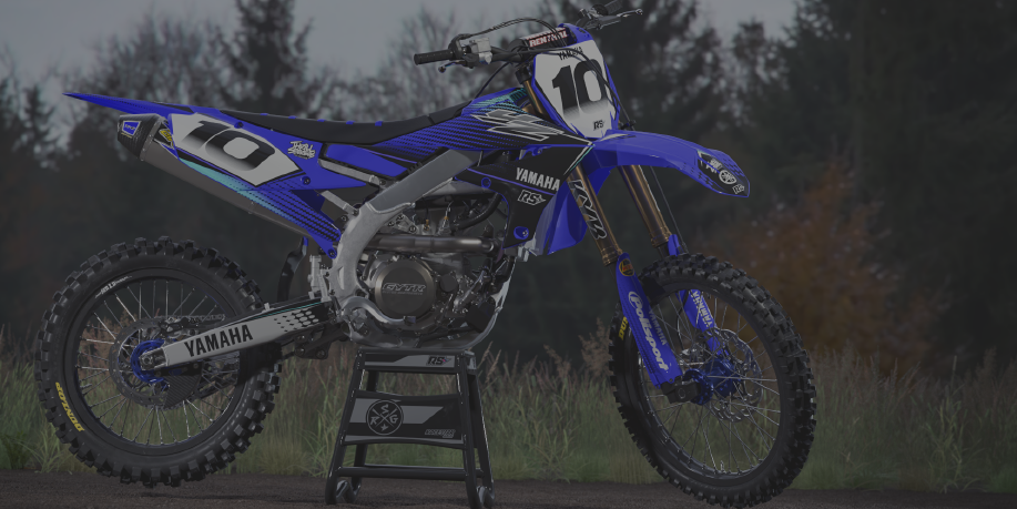 Image of a Yamaha with a bike graphic sticker kit