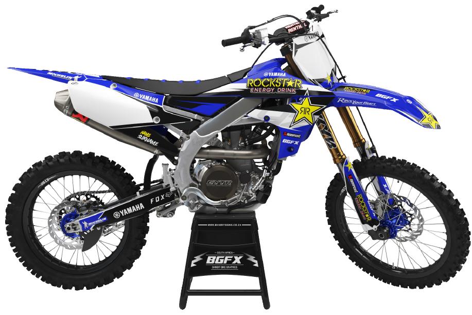 PNG Image of a Bandit Graffix Semi Custom Bike Graphic Kit on a Yamaha Bike